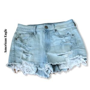 American Eagle Destroyed Flower Pocket Shorts